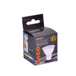 LED žárovka Solight, bodová, 3W, GU10, 4000K, 260lm, bílá