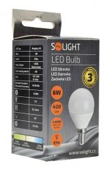LED žárovka Solight, miniglobe, 6W, E14, 4000K, 450lm